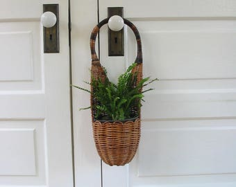 Vintage Hanging Basket, Wicker Hanging Basket, Boho Basket, Vintage Wall Basket, Bohemian Wall Basket, Hanging Plant Holder, Plant Hanger