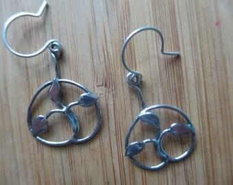 Sterling Silver Brutalist Triple Leaf Earrings