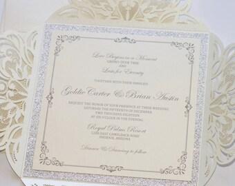Lace Wedding Invitation | Elegant Wedding Invite | Laser Cut Wedding Invitation | Ivory & Silver Glitter | Winter Wedding | GOLDIE Sample