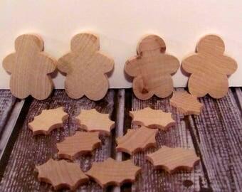 Lara's Crafts American Made Wood Parts Folk Art Ginger-man and Holly Leaf