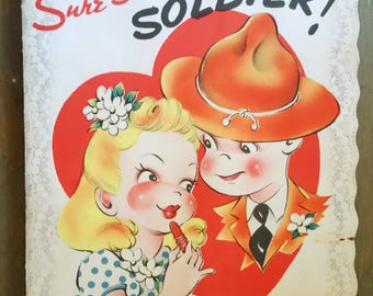 Vintage Large WW II Era Pretty Girl and Soldier Valentine Card, Homefront Paper Ephemera