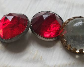 Vintage buttons 3, 2 matching  solitaire ruby red and opaque white  gum drop rhinestone style metal settings 1900's (July 388 17)