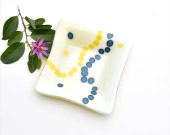 Fused glass art plate, french vanilla, cream, blue and yellow dots