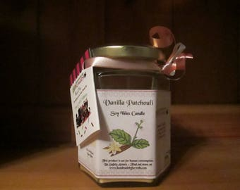 Vanilla Patchouli Scented Soy Wax Candle 300g