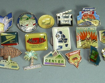 17 Vintage USPS Postal Pinbacks, Multicolor, States and Service Pins