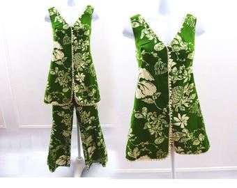 Vintage 60s Pants Suit Size M Hawaiian Green Linen Bell Bottom Mod Gogo Vtg 70s