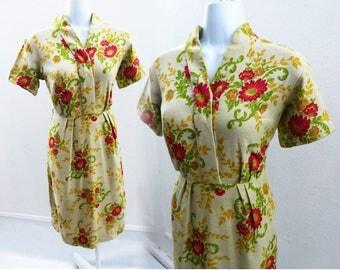 Vintage 50s Dress Size M Taupe Red Floral Linen Hopsack Rockabilly Wiggle Day
