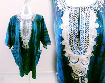 Vintage Dashiki Shirt One Size XL Blue Tribal Hippie Boho Tunic Caftan Dress