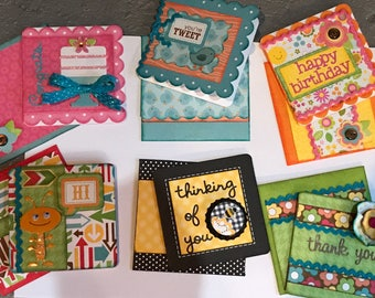 Set Of Six  Mini Greeting  Cards w/ Embellished Envelopes