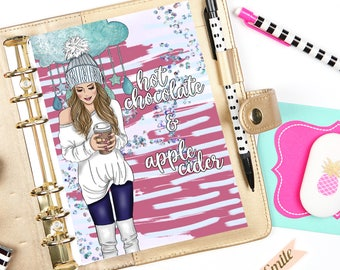 Hot Chocolate Fashion Girl A5 Planner Dashboard, Printable Dashboard, Instant Download, Planner Insert, A5 Dashboard, Planner Accessories