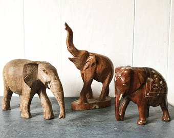 vintage carved elephant - wooden animal sculpture - bohemian decor
