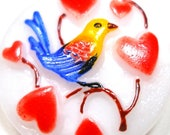 "LoveBIRD Button, Czech glass with hearts & bird in blue, yellow 7/8"" 22mm."