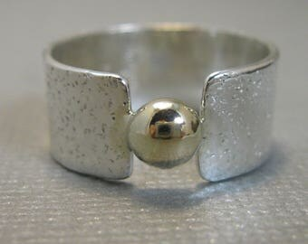 Distressed Sterling Silver Artisan Handcrafted Ring with Gold Filled Granule, Chunky Mixed Metal Solitaire Band with Gold Filled, size 7