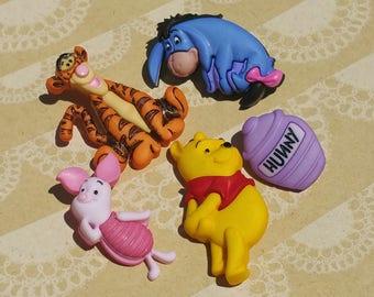 """Disney Buttons - Winnie The Pooh - Tigger Piglet Hunny Pot Eeyore - Sewing Bulk Button - 1 1/2"""" Tall - 5 Shank Buttons"""