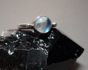 Little Moon - Rainbow Moonstone Gemstone and Sterling Silver Hand Made Ring Size 6