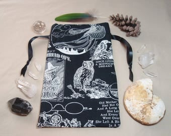 Owl Meet You at Midnight - Lined Drawstring Tarot Card Deck Pouch
