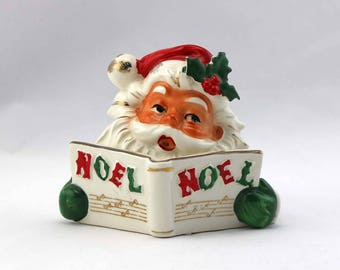 Vintage Santa Claus Candle Holder - Lipper and Mann Creations - Made in Japan - 47/38 - Santa Singing Christmas Carols - NOEL - St. Nicholas