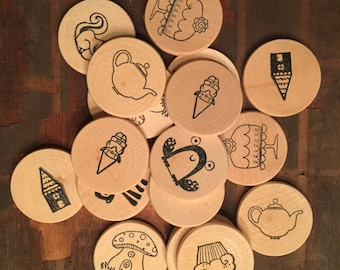 Fairy tale Make a Match memory game wooden tokens