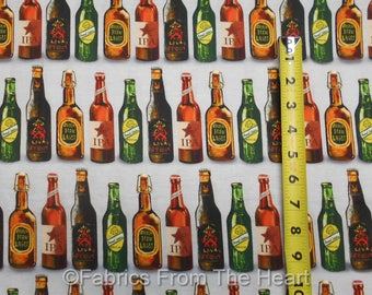 Cheers Beer Bottles in Row Stripe on Grey BY YARDS Robert Kaufman Cotton Fabric