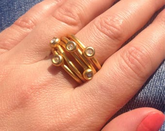 Eclectic Modern Gold Jeweled Band Ring Size 8 Women's