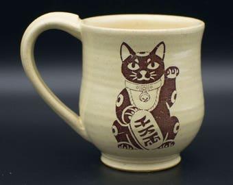 Lucky Cat Stoneware Mug