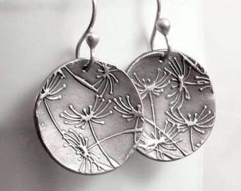 Large Dandelion Earrings, Fine Silver Earrings, Disc Earrings,Floral Jewelry PMC Jewelry, Gifts for Her