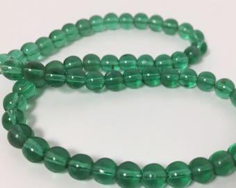 Vintage German Glass Green Beads - 6 mm Round