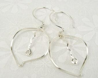 LEAVES EARRINGS, sterling silver dangle leaf earrings
