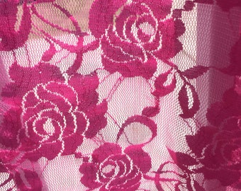 Rose Lace Sexy Soft stretch Fabric BTY, Pink/Purple