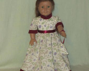 Colonial Style Dress, Pinner Cap, and Bag for American Girl Doll Elizabeth and Felicity