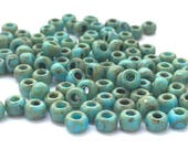 20 Grams Japanese Miyuki 6/0 Seed Bead - Opaque Turquoise Blue Picasso - 4mm (6-4514)