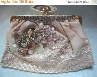 36% OFF Closet Cleaning VINTAGE Purse Handbag Altered Remake Clutch Evening bag Embellished Mothers Day Whisical - Taupe