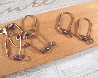 Large Antique Copper Leverback Ear Wires from Nunn Design - 6 Count