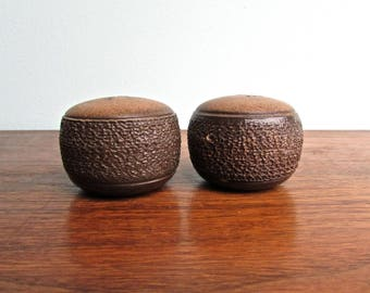 Glyn Colledge Designed Denby Pottery of England Replacement Tops for Cotswold Brown Salt & Pepper, Vintage Stoneware