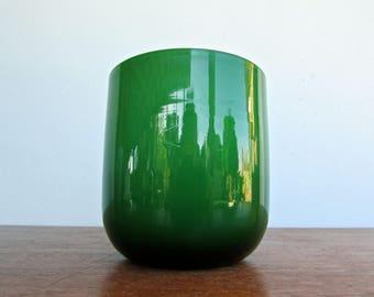 Carlo Moretti Modern Flat Clover-Green Cased-Glass Murano Tumbler, Mid Century Italy