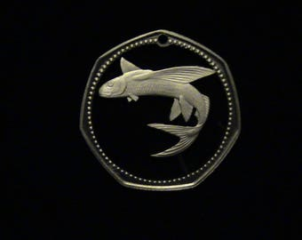 Barbados - cut coin pendant - w/ Flying Fish  - 1973