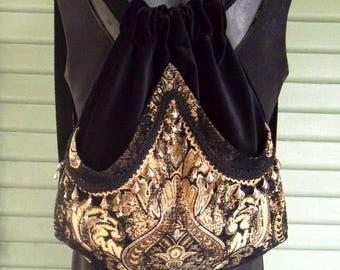 Tapestry Backpack with Brass Bead Fringe Black Velvet Renaissance Backpack Boho Backpack Boho Slingbag
