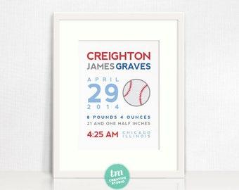8x10 Custom Birth Print // Sports Themed Wall Art - Baseball, Basketball, Football, or Soccer // Boy Nursery Decor