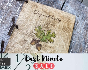 Guest Book Sale! Custom Woodburned Wedding Guest Book - Acorns - Rustic Wedding rustic wedding guest book wedding sign in book shower book