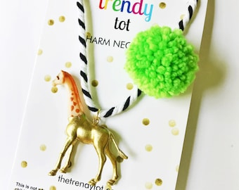 Kids Necklace. Kids Jewelry. Giraffe Necklace. Girls Necklace. Gift for Kid. Pompom Necklace. Animal Necklace. Stocking Stuffer. Small Gift