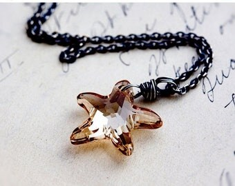 Starfish Necklace, Gold Starfish, Starfish Pendant, Sea Necklace, Nautical Necklace, Crystal Pendant, Crystal Necklace, Wire Wrapped