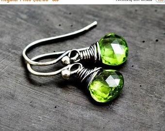 Peridot Earrings, August Birthstone Drop Earrings, Wire Wrapped Dangle Earrings,