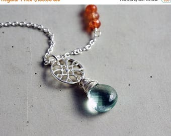 Fluorite Necklace, Orange Sunstone, Sea Foam, Faceted Pendant Necklace, Sterling Silver