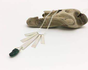 Silver & Blue Kyanite Long Textured Fringe Necklace - N413SS-L handmade by cristysjewelry