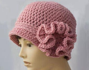 Flower Cloche Hat, Crochet Women's Hat,  1920's Flapper Hat,  Chose Color,  Woman's Hat, Autumn Winter Hat