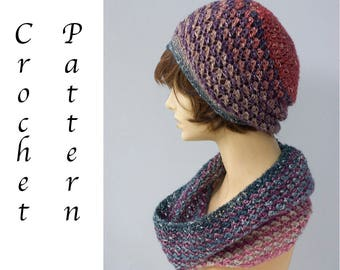 Hat  Cowl Set Crochet Pattern,  Shawl in a Ball Pattern,  Instant Download, Two PDF Patterns, Slouchy Hat, Infinity Scarf
