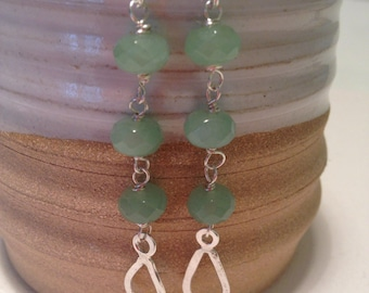 Teardrop earrings , aventurine earrings , dangle earrings, green earrings, handmade earrings