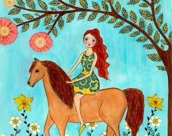 Girl and Horse Art Print Painting by Sascalia, Artwork for Children Decor