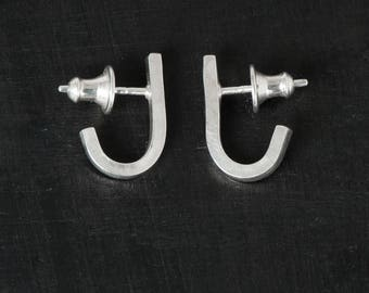 Stud Earrings- Shiny Hammered J Wrap Studs