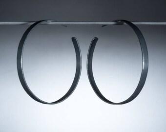 55mm Oxidized, Wide Sterling Silver Hoop Earrings